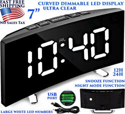7'' CURVED LED DISPLAY DIGITAL CLOCK DIMMABLE LARGE NUMBERS SNOOZE ALARM USB NEW
