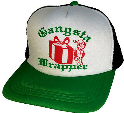 Gangsta Wrapper  Ugly Christmas Sweater Party Snapback Mesh Trucker Hat Cap