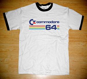 New-Commodore-64-Retro-Computer-Vintage-Logo-Geek-Ringer-White-T-shirt-Tee