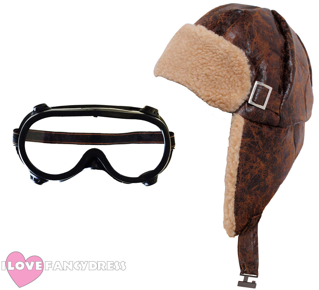 Brown Leather Look Aviator Flying Hat Costume Accessory