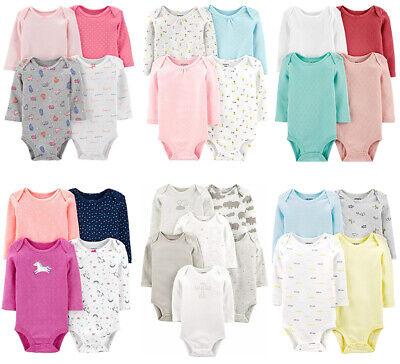 Carters Bodysuits Baby Girls Long Sleeve Unisex Sets New