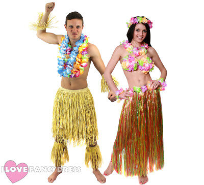 COUPLES ZULU AND HULA GIRL HAWAIIAN FANCY DRESS COSTUME BEACH PARTY HIS AND HERS (Couple Costumes Girls)