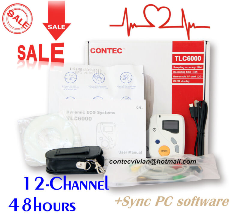 TLC6000 OLED Dynamic Holter ECG 48 Hours 12-lead Recorder Monitor+PC Software,CE