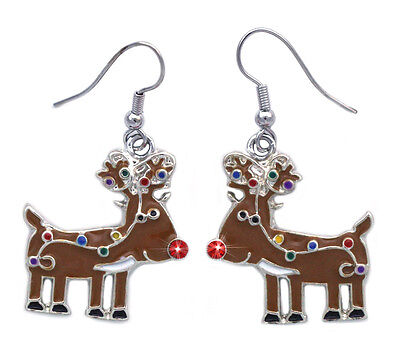 Christmas Red Nosed Reindeer Dangle Charm Earrings Christmas Holiday Gift Red Christmas Earrings