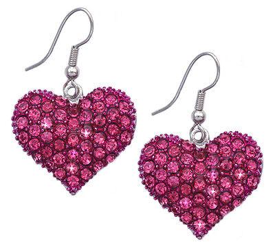 Hot Pink Heart HooK Earrings Jewelry Girl Friend Valentine's Day Birthday Gift
