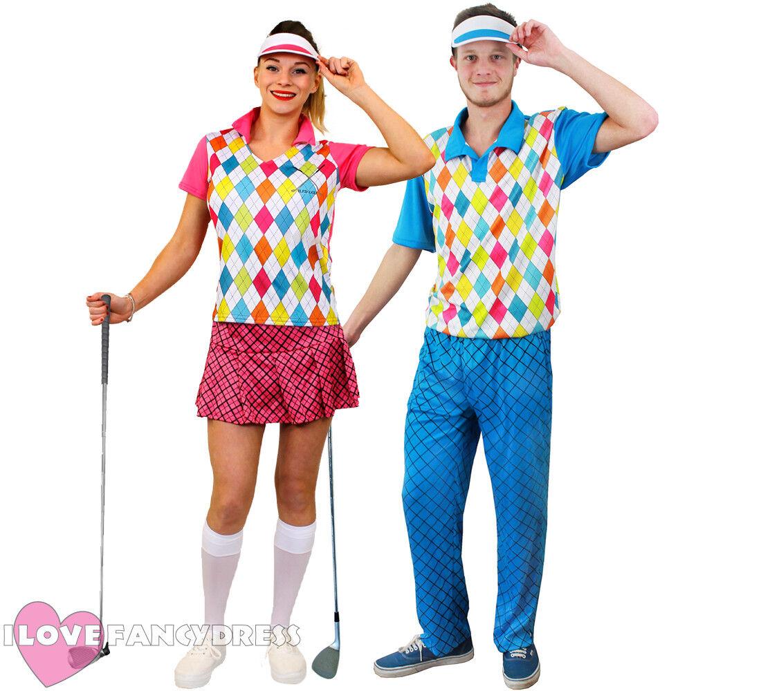 COUPLES GOLFER COSTUMES GOLFING FANCY DRESS PUB GOLF PARTY ADULT SPORT  UNIFORM 8d158e8ae1