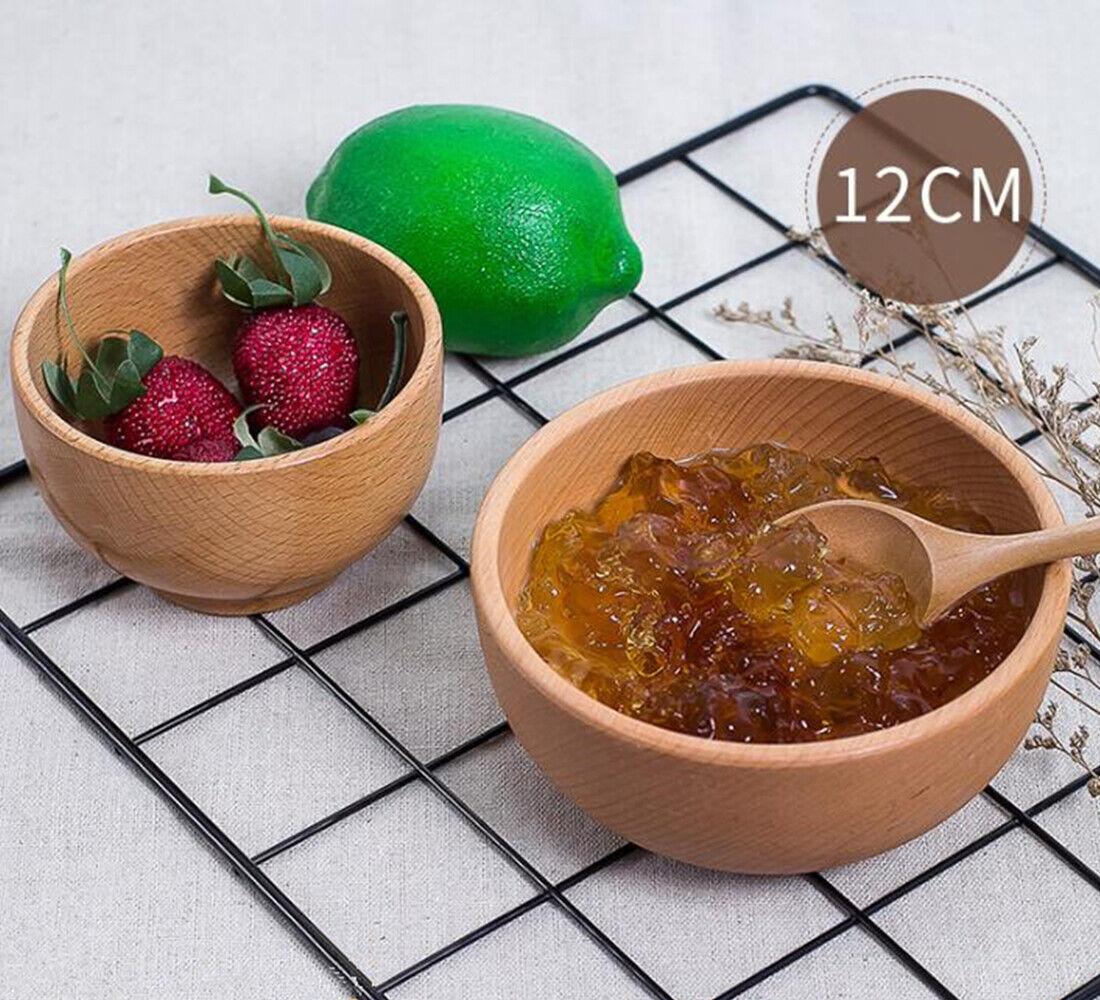 Wooden Salad Fruit Cereal Soup Food Serving Bowl Kitchen Utensil for Kids