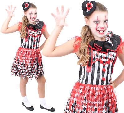 TEEN KILLER CLOWN COSTUME HORROR SCARY JESTER GIRLS HALLOWEEN FANCY DRESS  (Scary Teen Costume)