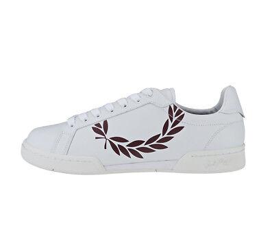 Fred Perry Schuhe Sneaker B7222 Printed Laurel Leather Weiß Herren div. Größen