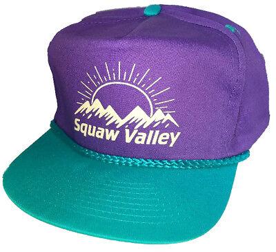 Squaw Valley  Purple Teal 80's Snapback Boardwalk Hat Cap Ski Snowboard Skiing Squaw Valley Ski