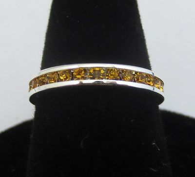 SIZE 10 STERLING SILVER PLATED STACKABLE NOVEMBER TOPAZ 3MM ETERNITY RING