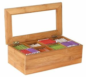 Bamboo Tea Bag Storage Box Wooden 8 Equally Compartments New Free Shipping