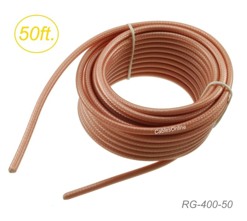 50ft RG400 Double Shielded Bulk 50 Ohm High Temperature Coax Cable, RG-400-50