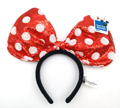Disney Park Mickey Party Minnie Mouse Ears Red White Polka Dot Sequin