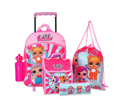 """NEW Girls LOL Surprise  Rolling 16"""" Backpack with Insulated Lunch Bag accessorre"""