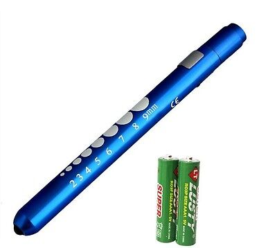 Blue Reusable Nurse Aluminum Penlight Pocket Medical Led Pupil Gaugebatteries