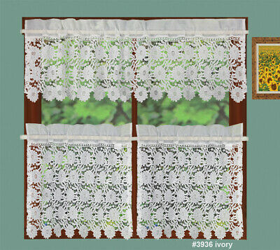 Creative Linens Knitted Lace Sunflower Kitchen Curtain Valance, 24