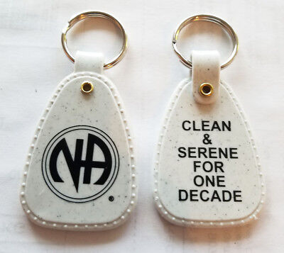 NARCOTICS ANONYMOUS - NA -1 DECADE - GRANITE KEY TAG - 10+ yr clean