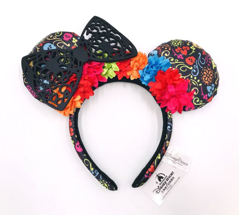Disney Parks Coco Dia de Los Muertos New Minnie Ears Black Floral Lace Headband