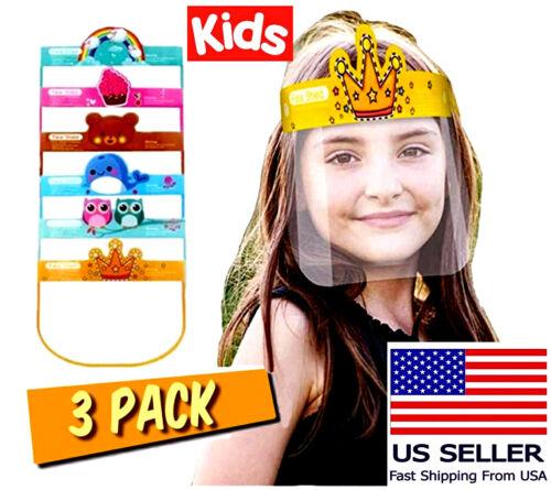 Face Shield Kids Virus Protection Children School Play Boys Girls Reusable 3PC