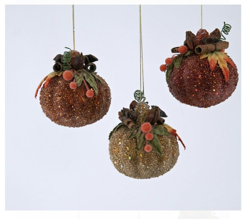 Set Of 3 KATHERINE'S COLLECTION Fall Pumpkin Patch Ornaments NEW!