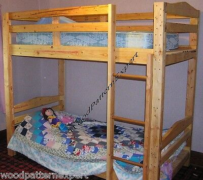 BUNK BED Paper Patterns BUILD KING QUEEN FULL TWIN ADULT SIZES Easy DIY -