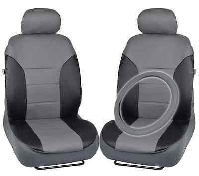Front Seat Covers for Car PLUS Steering Wheel Cover - PU Leather Gray & Black