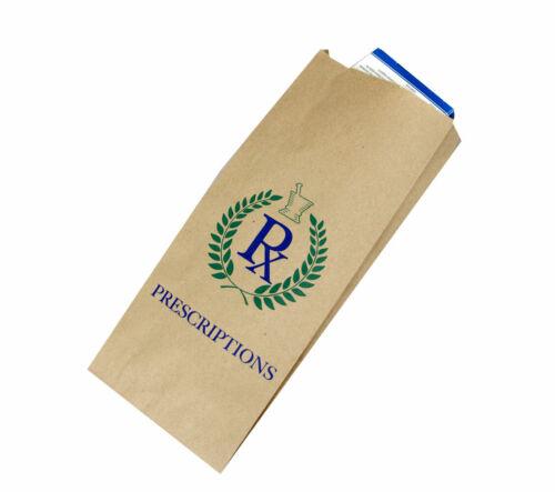 "1,000 100% Recycled Paper Pharmacy Prescription Bags Printed ""RX Prescriptions"""