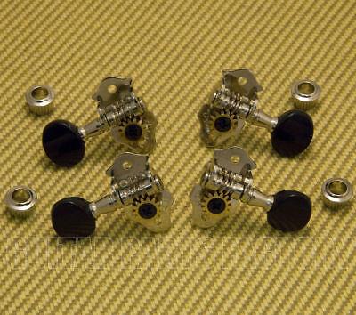 9NB Grover Sta-Tite Nickel/Black Geared Ukulele Uke Tuners/Machines/Tuning (Nickel Tuners)