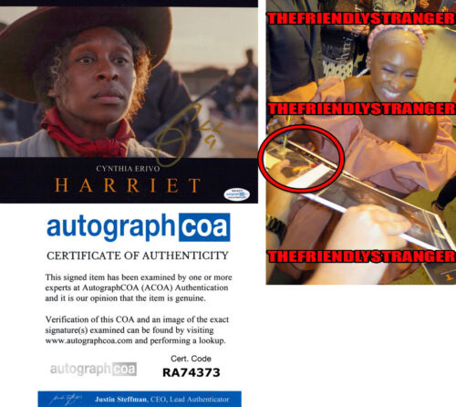 "CYNTHIA ERIVO signed Autographed ""HARRIET"" 8X10 PHOTO d EXACT PROOF Tubman ACOA"