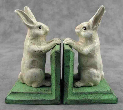 PAIR OF WHITE STALLION HORSE Cast Iron HEAVY BOOKENDS Book Ends