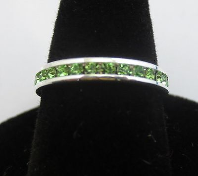 3MM STERLING SILVER PLATED STACKABLE AUGUST PERIDOT WEDDING ETERNITY RING SIZE 9