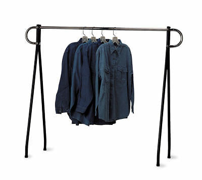 Clothing Rack Black & Chrome Single Rail Retail Storage Garment Salesman 48 x 60 ()