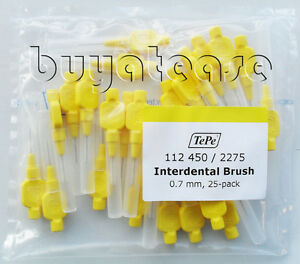Tepe Interdental Brushes Yellow 0.7mm 25 PACK With caps Dental Care
