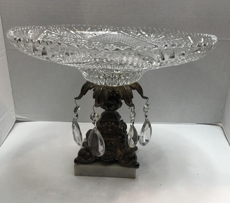 Vtg. Hollywood Regency Ornate Compote Pedestal Bowl 11 3/4 Brass Crystal Prism