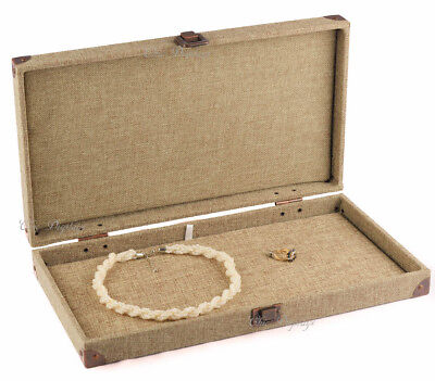 Burlap Solid Top Box Wooden Case Jewelry Box Display Case W Flat Liner Showcase