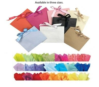 Boutique Shop Ribbon Tie Gift Bags Rope Handle Events Bag & Tissue Wrap ()