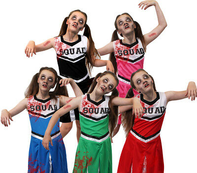 GIRLS ZOMBIE CHEERLEADER COSTUME KIDS HALLOWEEN FANCY DRESS DEAD CHEER SQUAD  - Halloween Cheerleader Costume Kids