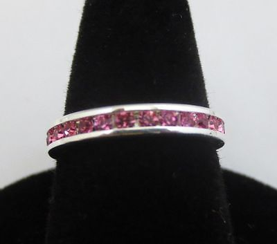 SIZE 10 STERLING SILVER PLATED STACKABLE OCTOBER ROSE WEDDING ETERNITY RING