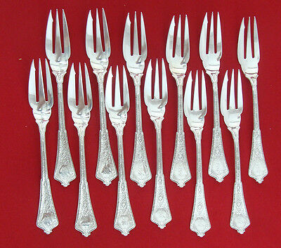 Set of 6 Gorham English Gadroon Sterling Fish Pastry Forks 6 1//4/""
