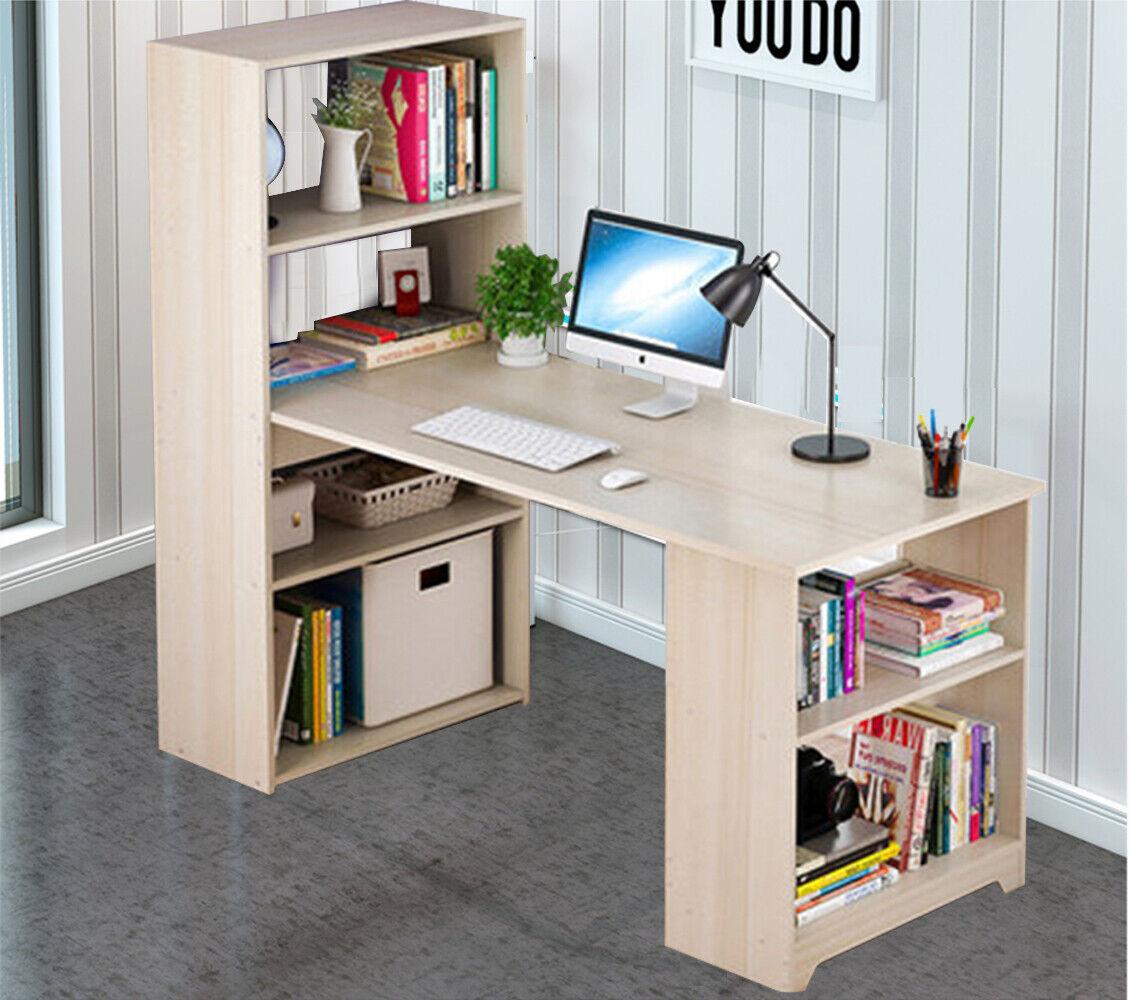 L-Shaped Home Office Computer Desk Bookshelf Shelves