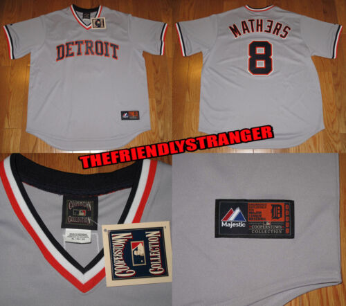 """EMINEM x DETROIT TIGERS """"MATHERS"""" #8 MAJESTIC COOPERSTOWN AWAY JERSEY Super Rare"""