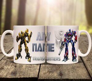 TRANSFORMERS PERSONALISED MUG cup tea ADD ANY NAME movie optimus prime megatron