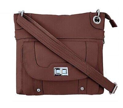 Concealed Carry Gun Purse Twist Lock Pocket Crossbody Bag Roma Leather Brown CCW