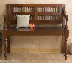 British Colonial West Indies Mahogany Bench Wood Furniture
