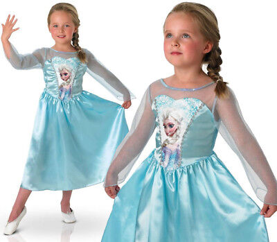 KIDS GIRLS ELSA COSTUME DISNEY PRINCESS FROZEN FILM FANCY DRESS CHRISTMAS (Frozen Film Kostüme)