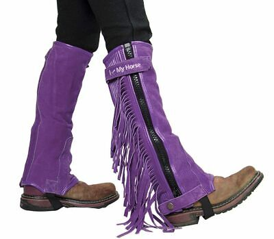 "Childs Suede Half Chaps (Childrens Suede Leather Multi Purpose ""I LOVE MY HORSE"" Half Chaps)"
