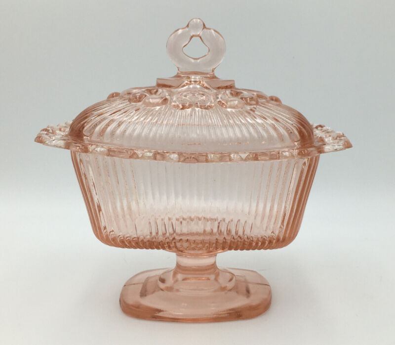 Anchor Hocking Old Colony Pink Depression Glass Open Lace Edge Footed Candy Bowl