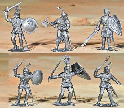 Timpo Recast 6 Silver Knights - 54mm unpainted plastic models - 1990s