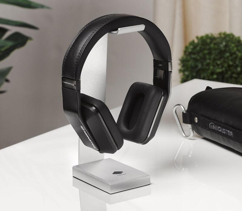 For Any Size Headphones Solid Aluminum Desktop Hanger Base Stand Chrome Silver